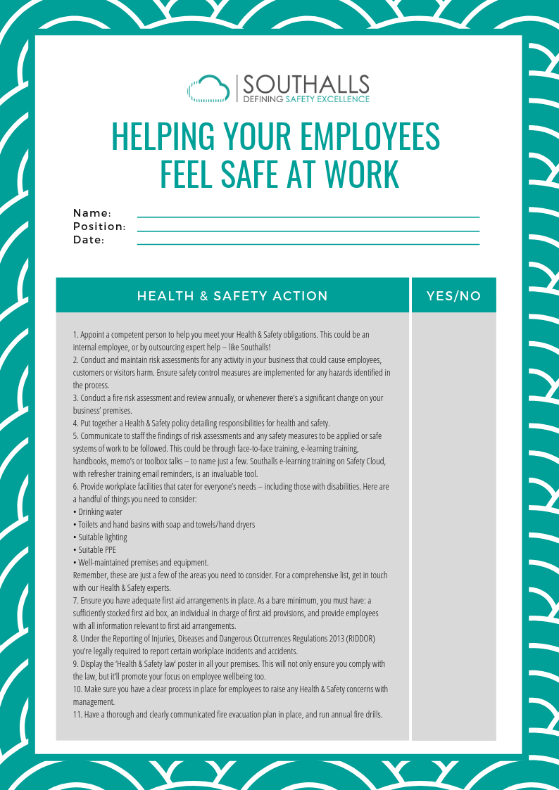 Southalls_Helping Your Employees Feel Safe At Work_Checklist